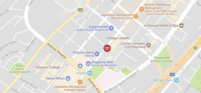 Toyota Gabriel Centre-Ville map
